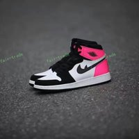 Wholesale Girls Size Flats - 2017 Retro 1 GS Valentines Day Black White Pink Women Basketball Shoes Fashion Retros 1s OG Girl Sports Sneakers Trainers Size 5.5-8.5