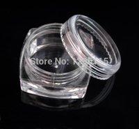 Wholesale Nail Square Diamond - 100PCS LOT-10G square transparent Cream Jar , 10ml diamond shape clear nail powder jar,
