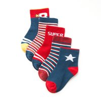Wholesale Character Socks - 5 Pairs Baby Girls Boys Socks Character Print Kids Socks for Girls Clothing 2017 Brand 100% Cotton Christmas Knee Socks Children