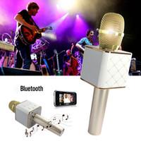 Wholesale Ipad Applications - Q7 Wireless Karaoke Handheld Microphone USB KTV Player Original Bluetooth Mic Speaker V4.0 For iPhone 6 6s 7 iPad Computer Application