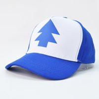 Plongeurs Adultes Gros Pas Cher-Vente en gros - 2016 Fashion Gravity Falls Baseball Cap BLEU PINE TREE Chapeau Casquette Cartoon Snapback New Curved Bill Dipper Hommes Adultes Papa Chapeau