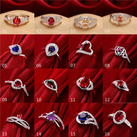 Wholesale Sterling Silver Set Mixed Order - 16pcs lot mixed order Fashion Rings 925 Sterling Silver Plated Sapphire Ruby CZ Stones Silver Ring for women #FR160-1