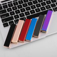 Wholesale Usb Rechargable - Metal Mirror USB Cigarette Lighters USB Charging Electric Wire Windproof Fire Rechargeable Flameless Cigar Lighter 5V DC Rechargable
