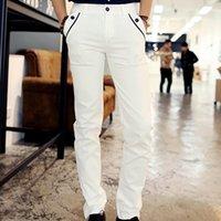 calças de vestido branco sexy venda por atacado-Atacado-Nova Primavera Homens Casuais Lápis Branco Calças Calças De Algodão Shinny Carga Calças Com Bolsos Para Encantador Dos Homens Sexy Vestido Calças