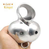Gold Kinger 316L Aço inoxidável Dispositivo de castidade masculina Cage Ball Stretcher Ring Enhancer Protector Cock Ring Sex toys para homens CR032