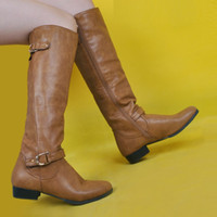 Barato China Botas Toed Redonda-Brown Flat Heel Knee High Women Boots Round Toe Tamanho 12 Sapatos Mulheres 2017 New Long Ladies Boots China Booties For Women