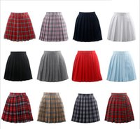 Wholesale Winter Dress Uniform - Japanese Uniform JK Sailor Pleated Mini Skirt High Waist Plaid Dress for High School College Girls Cheerleader Cosplay Vestidos S-3XL