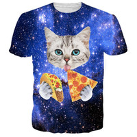 Wholesale V Neck Women Tee White - New Fashion Cat T Shirt 3d Printed Blue red Galaxy Tee Shirt Casual Animal T-shirt Men women Funny Tshirt Homme Unisex Clothing 17310