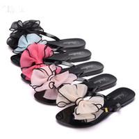 Wholesale Folder Cottons - Summer Flip Flops Slippers Women Flat Down Fashion Butterfly Flowers Beach Sandals Folder Women Sandals Plastic Aanti - skid Shoes