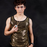 Wholesale Dj Wearing - Wholesale- Fashion Male Singer Stretch Sequined Vest Costumes Party show stage Dance wear Bar nightclub DJ performance equipment costumes