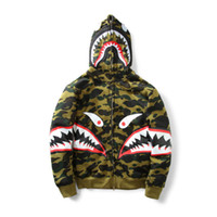 Wholesale Camouflage Jacket Men Winter - New Men's Camouflage Shark Mouth Print Hoodie Plus Cashmere Sweater Men Women Hooded Autumn Winter Jacket