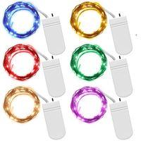 akü askısı hafif bakır toptan satış-Peri Dize Işıklar Pil Işletilen 7.2ft (2.2 M) 20 Leds Firefly Mikro Dize Işıklar Düğün Centerpiece Şükran Için Bakır Tel