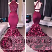 Wholesale Beaded Silk Skirt - 2017 New Burgundy Sexy Back High Neck Mermaid Prom Dresses Lace Appliques Tiered Ruffle Skirt Real Image Lace Sequins Beaded Evening Dresses