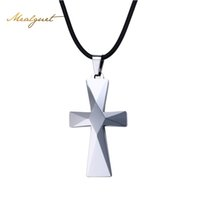 Wholesale Tungsten Carbide Pendants - PMeaeguet Man Tungsten Carbide Chorker Cross Pendant Necklaces Prism Design With Rope Chain Jewelry N-749