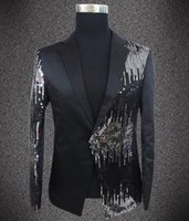 Wholesale Mandarin Collars Blazer - Wholesale- Plus size sequins blazer male singer DJ formal dress the groom paillette costume Wedding Slim Fit Groom jacket For Men
