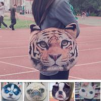 Wholesale Large Double Zipper Handbags - 3D Dog Face Shoulder Bags Double Side Animal Head Tiger Peking Poodle Fashion Women Handbags Puppy Single Shoulder Bags Satchel