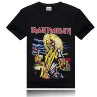 Wholesale Iron T - Wholesale Iron Maiden Printing New Men T-shirt Rock Band More Colors Fashion Sports T-shirt Black Size