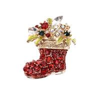 Wholesale Diamond Crystal Boots - Super Trendy Jewelry Brooch Cartoon Diamond Rhinestone Crystal Tree Leaf Christmas Boots Shoe Brooch Pin Corsage