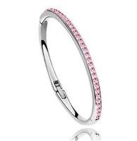 kristallgefülltes armband großhandel-Frauen Voller Diamanten Charme Kristall Armband Armreifen 18 Karat Roségold Armband Gefüllt Trendy Schmuck für Weihnachtsgeschenk
