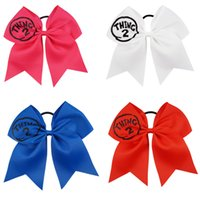 Wholesale Handmade Things - 7 inch Large Glitter Cheer Bows Handmade Thing 2 Printed Hair Bows with Ponytail Hair Holders For Cheerleading Girls