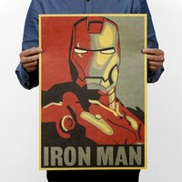 Wholesale Comic Paper - Iron Man Comic Avatar Poster Rock Poster Kraft Paper Bar Decorative Painting Retro Paper 51x35cm High Quality