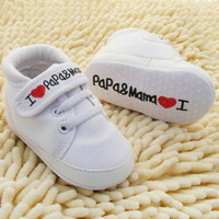 Wholesale I Love Mum Baby - Wholesale- Cute Heart-shaped I Love Mum And Dad Lovely Baby Shoes Girl Soft Bottom Footwear
