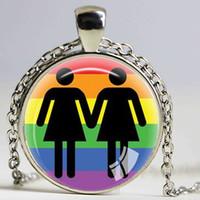 heirat halsketten großhandel-Gay Pride Halskette gleichen Geschlecht Lgbt Schmuck Homosexuell lesbische PrideWith Rainbow Love gewinnt Geschenk gleichgeschlechtliche Ehe gleich Ehe