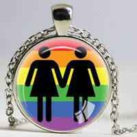 Wholesale Pride Pendant Necklace - Gay Pride Necklace Same Sex Lgbt Jewelry Gay Lesbian PrideWith Rainbow Love Wins Gift Same Sex Marriage Equal Marriage