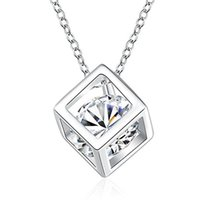 Wholesale Circle Diamond Pendant White Gold - White Gold Plated Cube Square Cubic Zirconia Diamond Pendant Necklace Swarovski Elements Jewelry For Women Wedding Jewelry