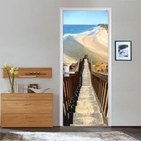 Wholesale Vinyl Stairs - Free shipping HOT Beach Stairs Door Wall Stickers DIY Mural Bedroom Home Decor Poster PVC Waterproof Door Sticker 77x200cm