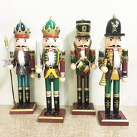 Wholesale Nutcracker Puppet - 2017 Christmas wooden home decoration hand-painted walnut soldiers Kings artesanato 30cm Nutcracker Puppet soldiers Wood crafts