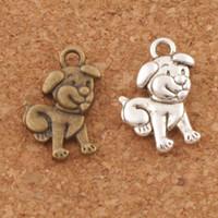 encantos do cão venda por atacado-Tummy Dog Encantos Pingentes 200 pçs / lote 11.5x16.8mm de Prata Antigo / Bronze Jóias DIY Fit Pulseiras Colar Brincos L116