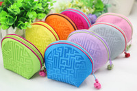 Fine High End Small Shell Bag Zipper Real Silk Satin Jóias Embalagem Coin Purse Storage Pouch Candy Gift Bag Wedding Party Favor 10pcs / lot