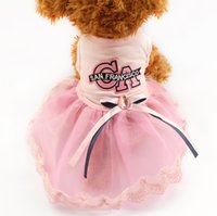 Wholesale Pink Store Clothes - Armi store Letters Pattern Summer Dog Dress Pink Princess Dresses For Dogs 6071034 puppy Skirt Clothing Supplies XS S M L XL
