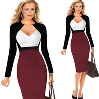 Wholesale Long Sleeve Pencil Dress Fitted - Women's Spring Summer Elegant V-neck Solid Slim Work Business Casual Fitted Bodycon Sheath Party Pencil Dress Puls Size S-5XL