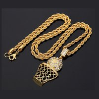Wholesale Rhinestone Basketball Jewelry - Fashion Hip Hop Iced Out 14K Gold Plated Mini Basketball Rim Pendant Necklace Long Chain Necklaces Mens Jewelry Gold Silver 2 Colors