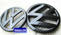 Wholesale Volkswagen Car Stickers - Golf MK6 MK7 BLACK CARBON FIBER EFFECT badge emblem Scirocco car sticker logo Golf GTI fit VW Front+rear 2pcs