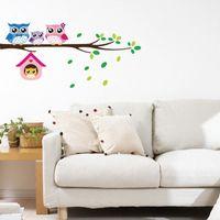 hibou branche murale achat en gros de-Branche de bande dessinée et hibou stickers muraux pour chambres d'enfants salon décor à la maison mur décor mural Art