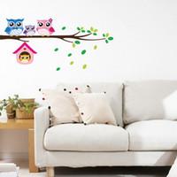 arte da parede do ramo da coruja venda por atacado-Ramo dos desenhos animados e coruja adesivos de parede para quartos de crianças sala de estar home decor wall decor mural art