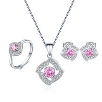 Wholesale Pink Korean Earring - Lovely Korean Style Pink Necklace Sets 925 Sterling Silver Ring Cubic Zirconia Earrings Fashion Jewelry For Girl