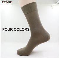 Wholesale Calcetines Bamboo - Wholesale- Fcare 10PCS=5 pairs black, khaki, dark gray, brown 43-46 bamboo fiber long leg socks bamboo men dress business socks calcetines