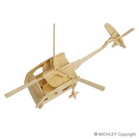 Wholesale Helicopter Wooden Puzzle - MICHLEY 1pc Free Shipping 3D Wooden Jigsw Puzzle Kid Educational Woodcraft DIY Kit Toy Simulation Models Helicopter 1ZJ0040-woodpuzzle