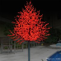 ingrosso albero fiorito da giardino leggero-LED Artificiale Cherry Blossom Tree Light Natale String Light 1152pcs LED Lampadine 2m / 6.5ft Altezza 110 / 220VAC Impermeabile Outdoor Garden Decor