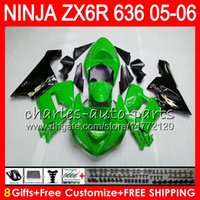 Wholesale Kawasaki Zx6r Fairings Black Green - 8Gifts 23Colors Bodywork For KAWASAKI NINJA ZX-636 ZX-6R 05-06 600CC green black 27HM19 ZX 636 ZX 6R 2005 2006 ZX636 ZX6R 05 06 Fairing kit