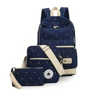 Wholesale Canvas Big Backpack For School - fresh Canvas Women Backpack big girl student book bag with purse laptop 3pcs set bag high quality ladies school bag for teenager