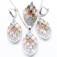 Wholesale Topaz Fashion Rings - Fashion 925 sterling silver color topaz jewelry set sliver women earrings, pendant, necklace, ring free gift box