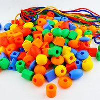 Wholesale 2 Years Children s Toys Building Blocks Early Learning Rope Beads Bead Toys About Beaded Kindergarten Toy Intellectual Enlightenment