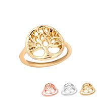 Atacado 10pcs / Lot Gold / Silver / Rose Gold Plated Tree Ring Design exclusivo Tree of Life Ring Round Tree Pattern Ring EFR056