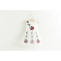 Wholesale Kids Roses Tulle - Girls Dress Rose Kids Sundress Flower Embroidered Tulle Children Tutu Dress Cute Summer New Girl Pricness Dress C437