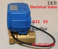 """Wholesale Electrical Ball Valve - 1 2"""" DN15 DC5V Brass Motorized control Ball Valve CWX15Q, 2 way Electrical Ball Valve CR-01 Wires"""
